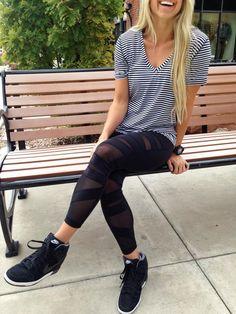 lululemon love tee stripes/ tech mesh pants/ wedges