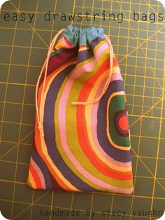 Easy drawstring bags - use as Reading book bags for students. Think of all the fun fabric you could use!