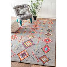 Shop for nuLOOM Contemporary Handmade Wool/ Viscose Moroccan Triangle Grey Rug (4' x 6'). Get free shipping at Overstock.com - Your Online Home Decor Outlet Store! Get 5% in rewards with Club O!