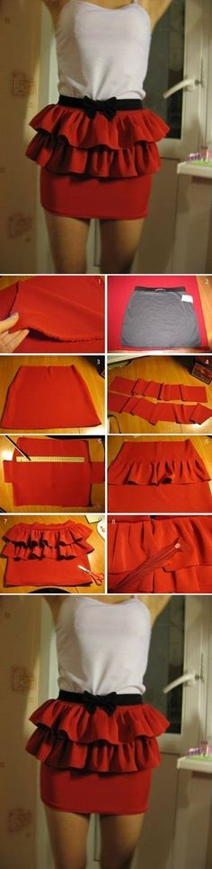Easy Skirt Modification Cute and easy, perfect to transform old clothes into new ones or just a fun project;)