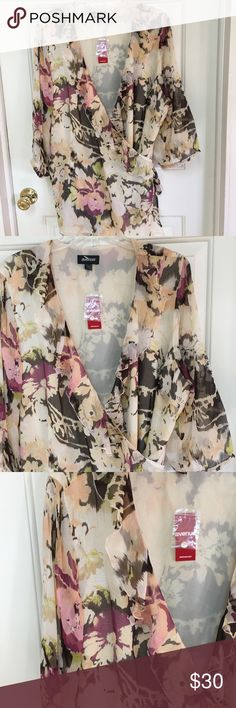 Wrap blouse tropical Brand new with tags fancy wrap shirt with tropical colors and scenery 22/24 size Avenue Tops Blouses