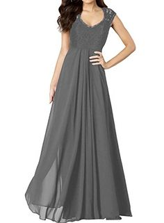 MaliaDress A Line Lace Chiffon Evening Bridesmaid Dress Prom Gown M278LF Gray US10 -- Find out more about the great product at the image link.