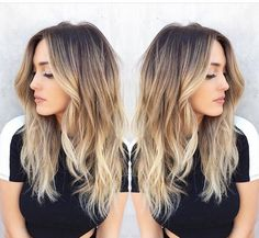 Here's Every Last Bit of Balayage Blonde Hair Color Inspiration You Need. balayage is a freehand painting technique, usually focusing on the top layer of hair, resulting in a more natural and dimensional approach to highlighting. Hair Color Balayage, Balayage Highlights, Dark Brown To Blonde Balayage, Blonde Color, Bayalage, Blonde Ends, Blonde Ombre Hair Medium, Blondish Brown Hair, Blonde Hair With Dark Roots