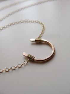 Lucky rose gold horseshoe necklace petite gold by OliveYewJewels, $34.00