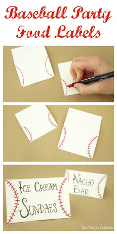 Food Labels Easy step-by-step tutorial on how to make baseball food labels. Cute DIY craft idea for a sports themed party!Easy step-by-step tutorial on how to make baseball food labels. Cute DIY craft idea for a sports themed party! Baseball Theme Birthday, Sports Birthday, First Birthday Parties, Boy Birthday, First Birthdays, Birthday Ideas, Baseball Themed Baby Shower, Sports Theme Baby Shower, Baseball Wedding Shower