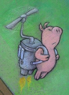 """""""Fishing for Impossibilities"""" - entry into the 2011 West Michigan Chalk Festival (and my largest chalk drawing to date) (June 19, 2011) - street art by David Zinn"""