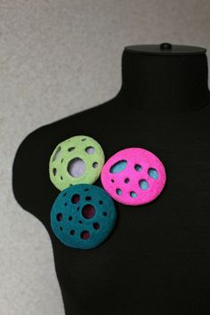 Felt cutout brooches