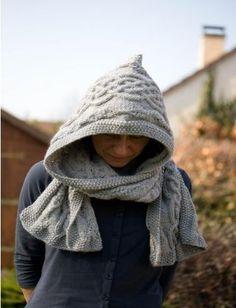 MES FAVORIS TRICOT-CROCHET  Modèle tricot gratuit   Une écharpe à capuche  Col Tricot b5bc183235e