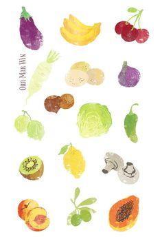 A to Z of fruit and vegetables OHN MAR WIN aubergine banana daikon eggs fig gooseberry hazelnut lettuce mushroom nectarine olive papaya
