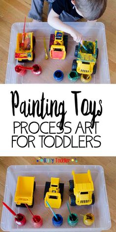 Painting Toys: Toddler Process Art A fun process art project for toddler painting toys. Let your toddler paint their favorite plastic toys in this simple art activity. Toddler Fun, Toddler Learning, Toddler Snacks, Toddler Toys, Toddler Games, Baby Toys, Children Toys, Baby Play, Infant Toddler