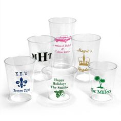 tons of different types of cups that are disposable and non disposable. MUCH cheaper than the other sites.   Personalized Clear Hard Plastic Cups