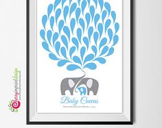 Unique Printable Mom and Baby Whale Baby Shower Guest Book