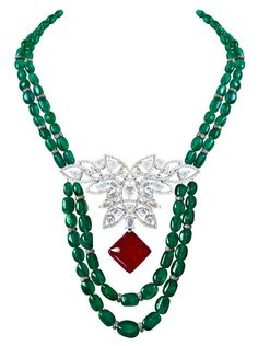 MINAWALA Festival of Emeralds collection necklace in white gold with diamonds…