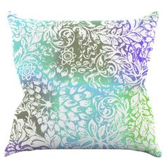 Kess InHouse Vikki Salmela Blue Bloom Softly For You Indoor / Outdoor Throw Pillow - VS1002AOP02
