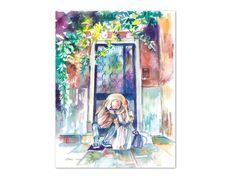 w… Romantic couple art. 50 Wedding Anniversary Gifts, Paper Anniversary, Anniversary Ideas, Watercolor Print, Watercolor Paintings, Original Artwork, Original Paintings, Newlywed Gifts, Couple Art