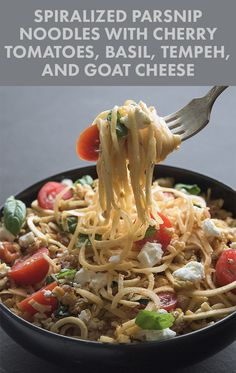 """Spiralized Parsnip """"Noodles"""" with Cherry Tomatoes, Basil, Tempeh, and Goat Cheese"""
