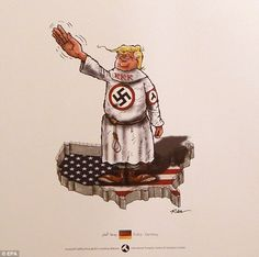 This controversial cartoon shows Trump in a KKK cape with a swastika, posing in a Nazi salute