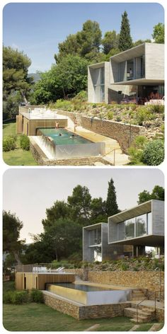Four concrete boxes make up this holiday home by Paris architect Pascal Grasso, which nestles into a verdant hillside on the southern coast of France Modern Architecture House, Residential Architecture, Architecture Design, Building A Pool, Building A House, Beautiful Buildings, Beautiful Homes, House Built Into Hillside, Houses On Slopes