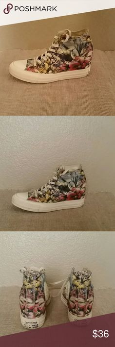 Converse floral hidden wedge sneakers size 7 Converse Chuck Taylor all star sneakers, hi tops, 3 inch hidden wedge, pre-owned, size 7 Converse Shoes Sneakers