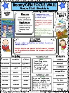 3rd Grade Unit 1 Module A- 3rd Grade Concept PosterYour kids will appreciate this concept board to help understand what will be the focus in this ReadyGen Module. *Please preview all that is included on the focus poster for Unit 1 Module A Look for my other module posters!
