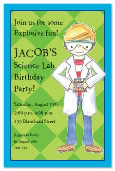PRINTABLE SCIENCE themed birthday party invitation Science party
