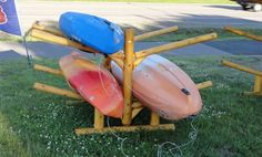 Rustic Kayak Rack!!  #4place  A rustic storage system for kayaks, canoes, sups!