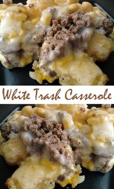 Food and Drink Recipes: White Trash Casserole White Trash Casserole Recipe, Casserole Dishes, Casserole Recipes, Beef Casserole, Broccoli Casserole, Breakfast Casserole, Breakfast Recipes, Hamburger Recipes, Ground Beef Recipes