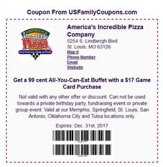 99¢ All-You-Can-Eat Buffet with $17 Game Card Purchase at America's Incredible Pizza! – Coupons Are My Currency