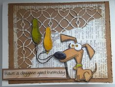 Hello   Here is another card using the Crazy Dog stamps by Tim Holtz from Stampers Anonymous.      I have recently shown you cards in very b...