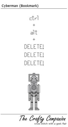 Cyberman - Doctor Who Inspired PDF Cross Stitch Pattern. $2.50, via Etsy.