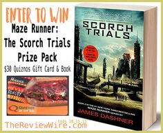 Win a Maze Runner Movie Book + $30 Quiznos Card! Ends 10/15 #RWMevent #ScorchTrials #giveaway