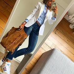 Gorgeous Women Over 40 Work Outfits Ideas With Blazer Casual Work Outfits, Business Casual Outfits, Mode Outfits, Work Casual, Casual Chic, Fashion Outfits, Womens Fashion, Work Attire, Fashion Tips