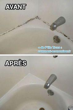 Une fois que les moisissures apparaissent, elles se propagent sur tous les joints de la salle de bain... Heureusement, il existe un truc simple pour enlever la moisissure sur les joints de la baignoire. Découvrez l'astuce ici : http://www.comment-economiser.fr/supprimer-moisissure-joints-baignoire.html?utm_content=bufferbc6fb&utm_medium=social&utm_source=pinterest.com&utm_campaign