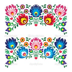 Polish floral folk embroidery patterns for card — Stock Vector ...