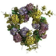 Welcome spring to your door with a mixed hydrangea faux wreath.