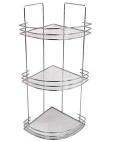 3 Tier Bath Corner Shelf Caddy With Mesh Wire Shelves And Guard Rail