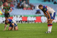 Jeremy Smith of the Knights looks dejected after this loss during the round 12 NRL match between the South Sydney Rabbitohs and the Newcastle Knights at ANZ Stadium on June 1, 2013 in Sydney, Australia.