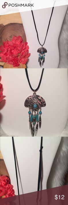 Black and Turquoise Boho Necklace- Faux Turquoise faux suede necklace. The main part of the pendant is metal with plastic beads. Never been worn! Super cute! Jewelry Necklaces