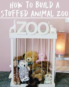 Put together an easy-to-build stuffed animal zoo so all of the kids' favorite toys have a place to live. | 42 Brilliant Ways To Binge Organize Your Entire…