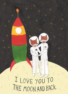 Love You To The Moon and Back Card Fantastic Mr by HutchCassidy