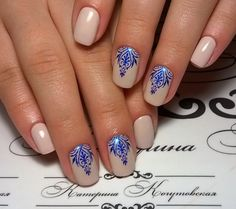 Beautiful new year's nail, Blue and beige nails, Delicate christmas nails…