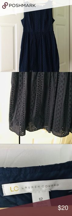 Lauren Conrad Cotton Eyelet Dress Lauren Conrad Cotton Eyelet Dress  Size zip Back button Perfect condition  Hits below the knee  Navy Size 12 LC Lauren Conrad Dresses Midi