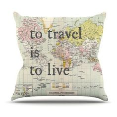 Kess InHouse Catherine Holcombe To Travel Is To Live Color Map Outdoor Throw Pillow - CH1034AOP03