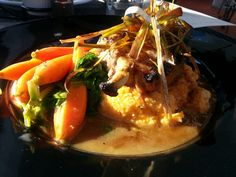 Maple Bourbon Pork Chop with Sweet Potato Grits. Players on Madison. Lakewood.