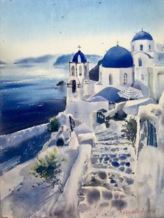 Home decoration is one of the most important elements that help you to define the… Watercolor Pictures, Watercolor Sketch, Watercolor Illustration, Watercolor Flowers, Watercolor Paintings, Greece Drawing, Greece Painting, Watercolor Architecture, Watercolor Landscape