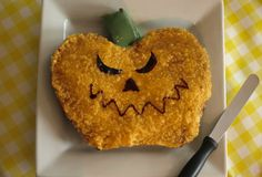 Pumpkin cake - baked in a heart-shaped tin, with the sliced-off-bottom used as a stalk. Pumpkin Puree, Pumpkin Carving, Pumpkin Recipes, Fall Recipes, Numicon, Great British Bake Off, No Bake Cake, How To Make Cake, Biscuits