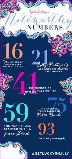 Lilly Pulitzer Noteworthy Numbers