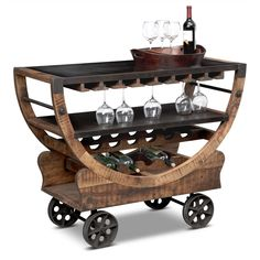The Farrell bar cart from our Passport line has fun looks and is fully functional. Its medium-toned frame of mango wood brings visual levity to the industrial chic bronze metal wheels and metallic shelves. Value City Furniture, Ikea Furniture, Street Furniture, Furniture Ideas, Furniture Removal, Furniture Online, Furniture Stores, Vintage Industrial Furniture, Industrial Chic