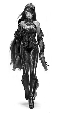 Concept art of what Bayonetta was originally supposed to look like, in an…