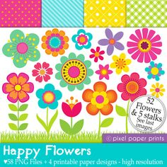 Happy Flowers - Digital paper and clip art set - 58 png images. $6.00, via Etsy.